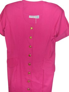 Premiere Edition Fuchsia Short Sleeves Button Front New Vintage Shift Dress