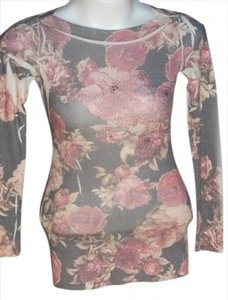 Forever 21 21 Long-sleeved Embellished Colored & Size S Wide Neckline Top Multi, Floral, pinks, greys