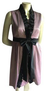 Ryu Modcloth Lilac Black Black Ruffles Bow Bow V Neck Party Chic Dress