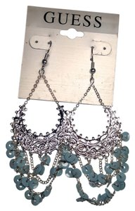 Guess New Guess Chandelier Earrings Light Sky Blue Sequins Silver Tone 4 in. Long J1921