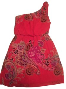 Sweet Storm short dress Coral Pink Off The Shoulder Paisley on Tradesy