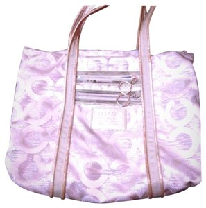 Coach Poppy Glam Glitter Sparkle Tote in white