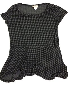Love Ady T Shirt Black/grey houndstooth peplum