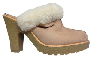 Jessica Simpson Suede Fur Trim Powder pink Mules