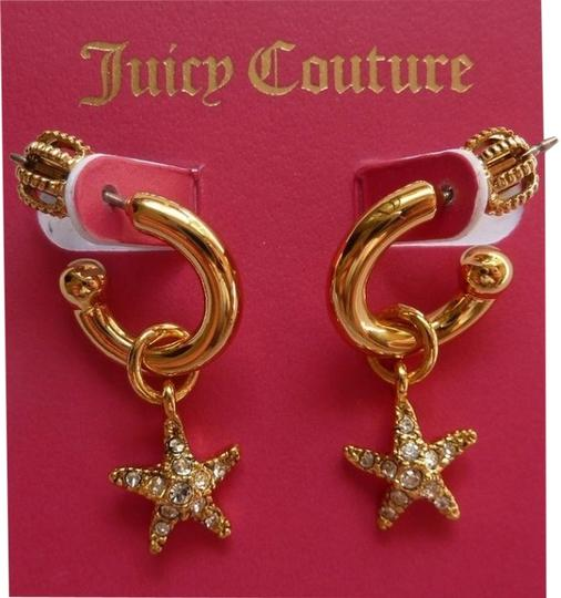 Juicy Couture JUICY COUTURE Gold Pave Crystal Sail-Starfish Small Hoop Earrings YJRUOE88