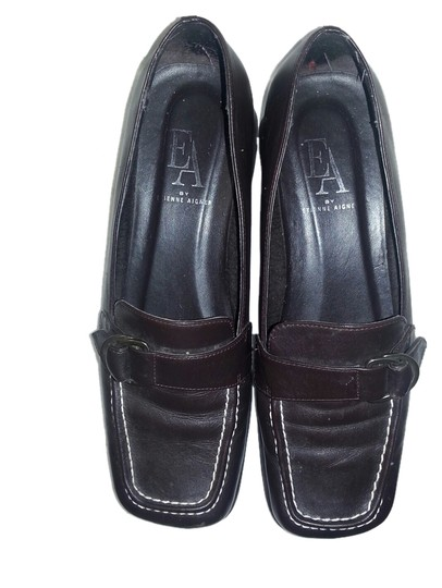 Etienne Aigner Leather Cushioned Insole Double Stitching Brown Flats