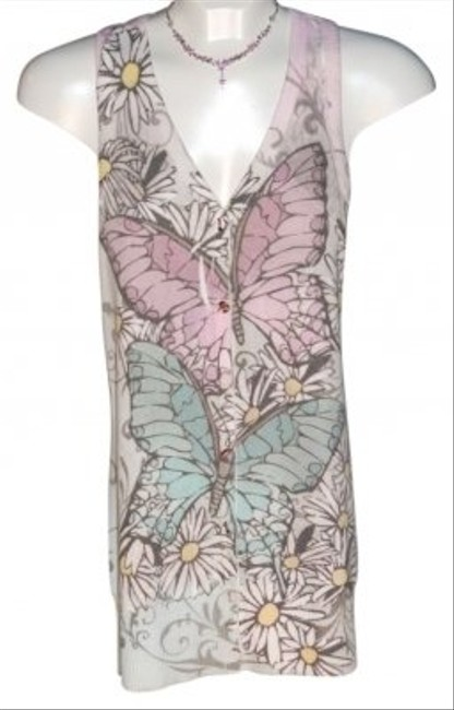 Twenty One Racerback Long With V Neck Size M Butterflies And Flowers Cardigan