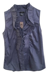 Ann Taylor LOFT Sleeveless Ruffled Dressy Top Blue
