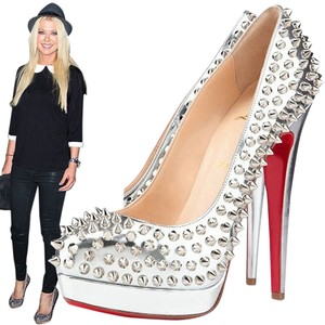 Christian Louboutin Metallic Patent Leather 160 Mm New Silver Pumps