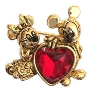 Disney Vintage Mickey & Minnie Loving Heart Brooch