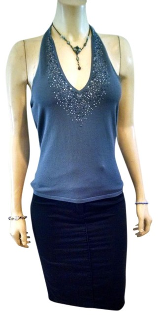 Item - Gray Silk Blend Beaded Medium P762 Halter Top Size 8 (M)