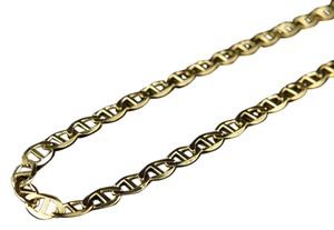 Mens 10k Solid Yellow Gold 2.5mm Flat Mariner Link Style Chain 24 Inch