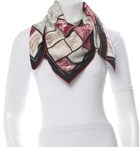 Burberry Red, beige, multicolor Burberry signature monogram plaid print silk large scarf New