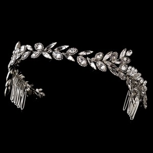 Elegance By Carbonneau Ornate Antique Silver Crystal Vine Wedding Headband