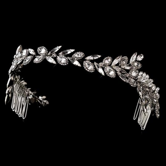 Elegance by Carbonneau Silver Ornate Antique Crystal Headband Hair Accessories