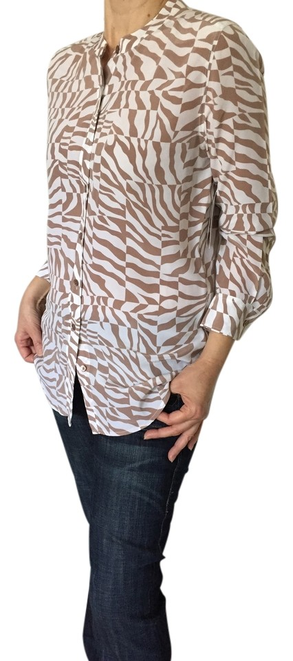 Tunic Print Blouse Shirt New Button Animal Silk Top down Equipment FwtCqp7