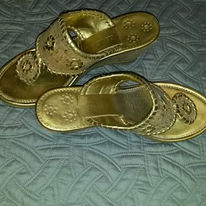 Jack Rogers Gold Mules