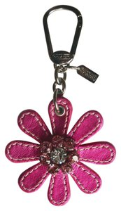 Coach Poppy Metallic Leather Jeweled Flower Key Fob 92745 Keychain