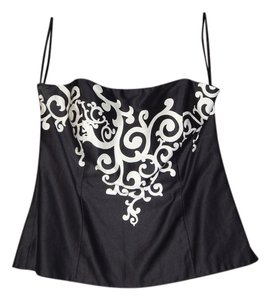 White House | Black Market Strapless Whimsical Bustier Top Black and White