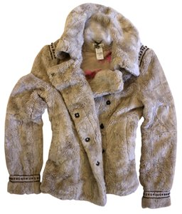 DEPT Studded Faux Fur Winter Fur Fur Coat