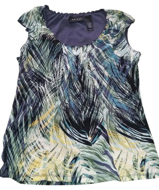 Item - Multiple Colors Different Blues Black Yellow Green White Blouse Size 8 (M)