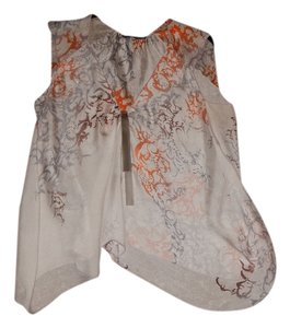 Rozae Nichols Swirl Pattern Sleeveless Sequin Top Gray and Orange