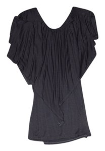 Ella Moss Flowy Short Sleeve Ruffle Top Black