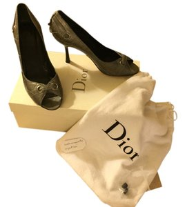 Dior Classic Couture Leather Silver Pumps