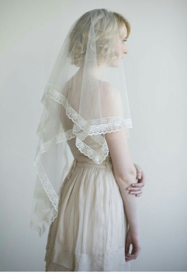 BHLDN Ivory Medium Twigs and Honey Silk Tulle with Lace Bridal Veil Image 1