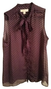 Michael Kors Sleeveless Sheer Top Purple and White