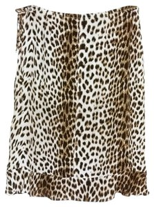Johnny Was Cheetah Leopard Knee Length Ruffle Animal Print Skirt Beige & Black