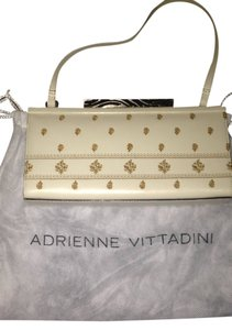 Adrienne Vittadini Leather Embroidered Zebra Metallic Hardware beige/gold Clutch