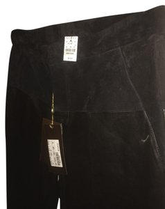 Gucci Leather Suede Straight Pants Black
