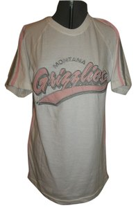OVB Montana Grizzlies T Shirt White w/ Pink, Gray Trim