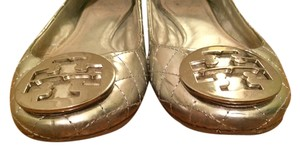 Tory Burch Patent Leather Quilted Silver Flats