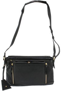 Diane von Furstenberg Leather Suede Satchel in Black