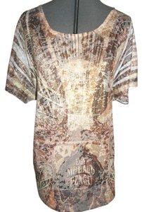 Maurices Embellished T Shirt Brown and Gold