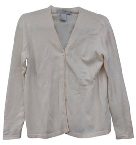 Cashmere Cardigan Sweater Button Down Shirt Cream ivory