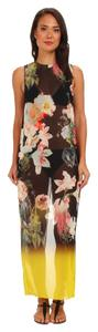 Ted Baker NEW TAGS! TED BAKER LONDON BLACK FLORAL SHEER LONG MAXI SWIM COVER UP DRESS L NWT