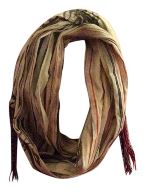 Item - Beige Gold Red. Summer Painted Scarf/Wrap