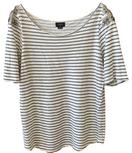 Deletta T Shirt Cream and grey stripe with jewels
