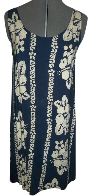 Other short dress Navy w/ Ivory Print A-line Sleeveless Floral Cream on Tradesy