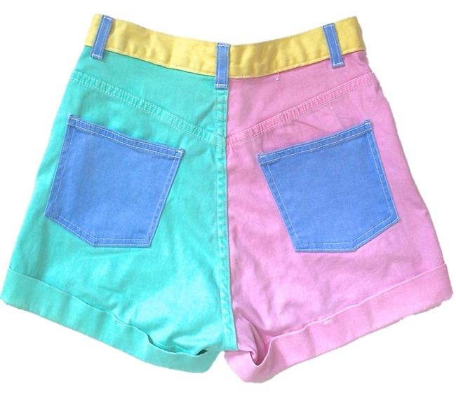 Item - Turquoise/Pink/Blue/Yellow Light Wash Color Block Stretch Bull High-waist Cuff Denim Shorts Size 26 (2, XS)