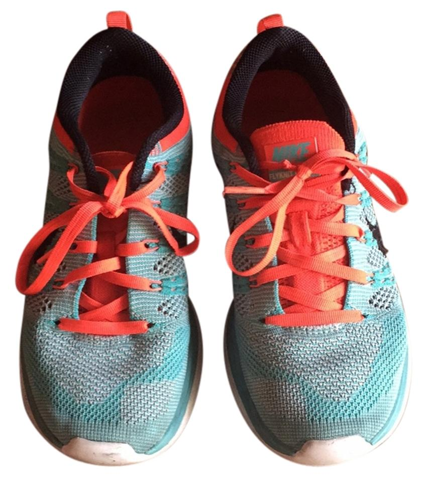 Nike and Tourquoise and Nike Orange Flyknit Lunar1 Sneakers 22145c