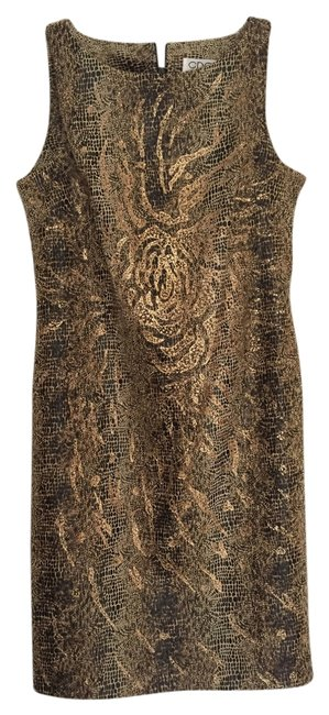 Item - Brown Gold Knee Length Cocktail Dress Size Petite 6 (S)