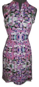 CeCe L'amour short dress Pink/Purple Sleeveless Shirt Buttons Elastic Waist Asymmetrical Hem on Tradesy
