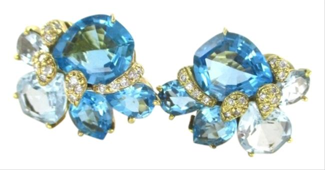 Gold 18kt Yellow with 32 Diamonds Stunning Blue Topaz Earrings Gold 18kt Yellow with 32 Diamonds Stunning Blue Topaz Earrings Image 1