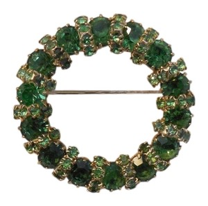 Vintage Weiss Breathtaking Weiss Vintage Green Rhinestone Circle Pin Brooch