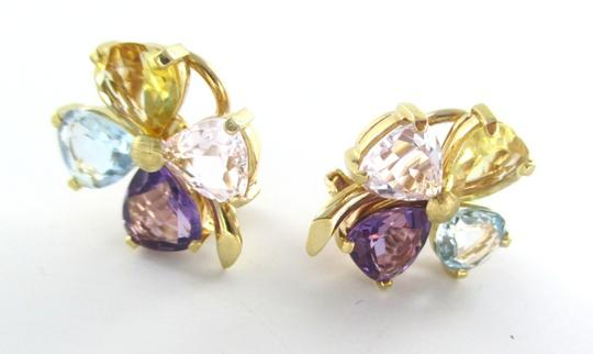 Other 18KT YELLOW GOLD EARRINGS WITH MULTICOLOR PRECIOUS STONES FLOWER SHAPE