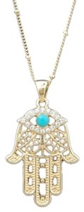 Gold plated Hamsa Necklace with Turquoise Stone & Swarovski Crystal Eye